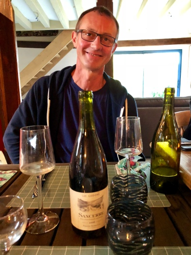 Wine producer Philippe shares wines from his private cellar at dinner in his and Lynne's home.