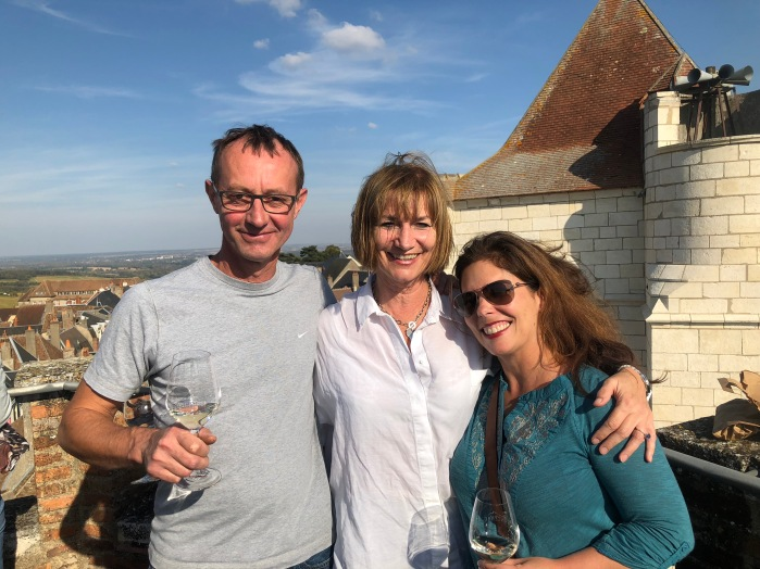 Philippe, Lynne & Julie high atop the Maison de Sancerre, overlooking the area's vineyards on a sunny day.